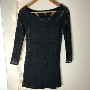 Express black embroidered lace dress size xs